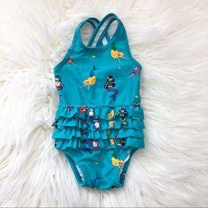 Hanna Andersson Mermaid Ruffled Swim Suit Blue